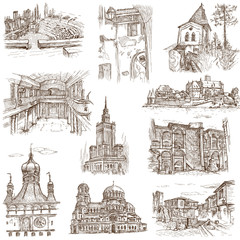 Architecture around the World (no.7) - hand drawings on white