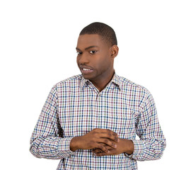 Man playing nervously with hands because he made mistake