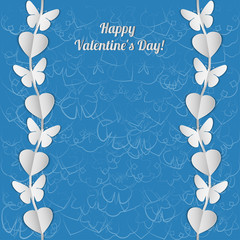 Valentine's Day card with white garlands of butterflies.