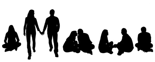 vector illustration with family silhouettes.