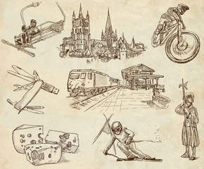 Traveling series: SWITZERLAND (no.2) - hand drawings on paper