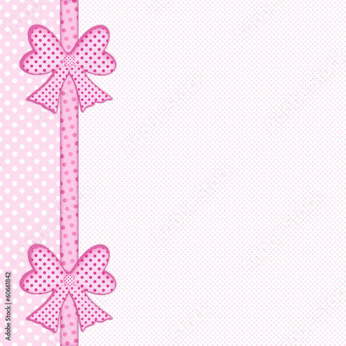 """""""Baby pink polka dot background with gift bows and ribbon ..."""