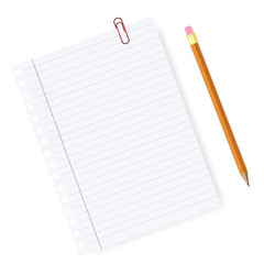 Lined paper with pencil  and paper clip vector. School and Offic