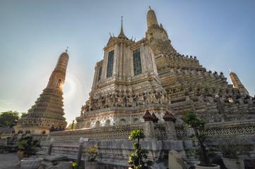 Wat Arun and a beautiful blue sky in Bangkok, Thailand