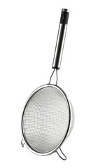Round metal strainer isolated on white background