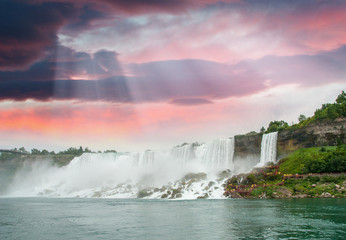 Magnificence of Niagara Falls. Wonderful colors of nature