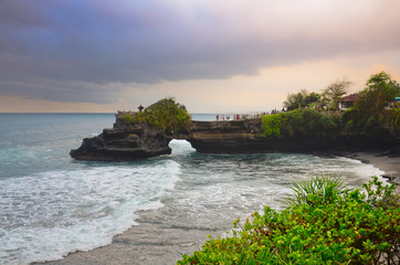 The Tanah Lot Temple, the most important indu temple of Bali, In