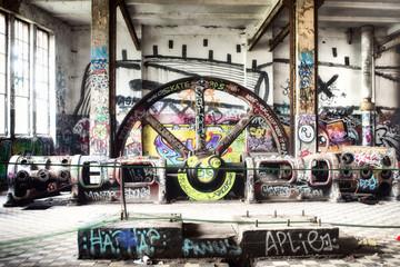 Autocollant pour porte Les vieux bâtiments abandonnés Abandoned factory