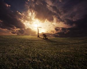 Sunset kneeling