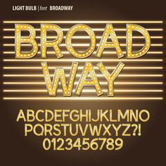 Golden Broadway Light Bulb Alpahbet and Digit Vector