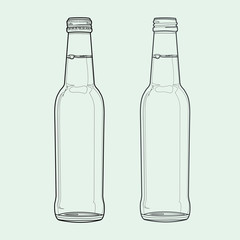 soda bottle out line vector
