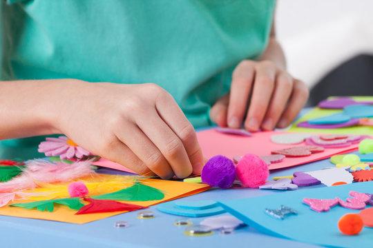 Little boy making crafts
