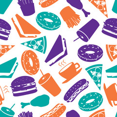 fast food colorful pattern eps10