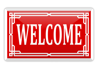 Red banner with an inscription welcome - vector