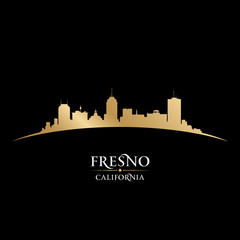 Fresno California city silhouette black background