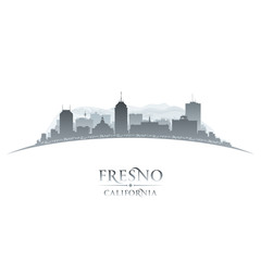 Fresno California city silhouette white background