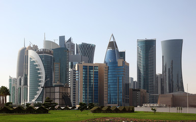 Foto auf Leinwand Mittlerer Osten Skyscrapers downtown in Doha, Qatar, Middle East