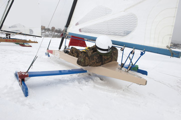 Sailboat in winter