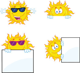 Sun Cartoon Mascot Characters 2. Collection Set