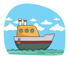 cute colorful cartoon boat