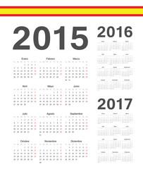 Set of Spanish 2015, 2016, 2017  year vector calendars