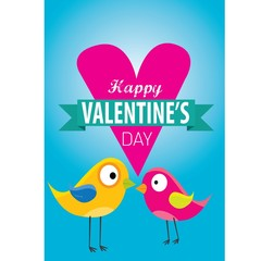 valentine day love beautiful card with cute love couple birds