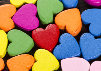 Colorful hearts close up. Valentine's day decorations