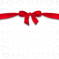 Card with hearts and ribbon with a bow