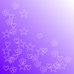 flowers hearts and stars on a lavender backdrop