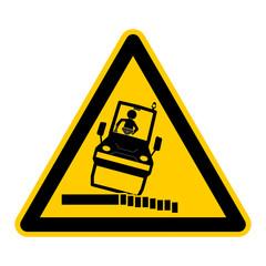 wso54 WarnSchildOrange - english warning sign: caution risk of tipping during rolling - German Warnschild: Warnung vor Kippgefahr beim Walzen - g463