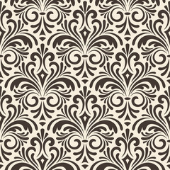 vector seamless floral vintage pattern on beige background