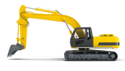 Excavator isolated on white background. Left view