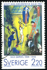 Visit of an eccentric lady by Nils Dardel