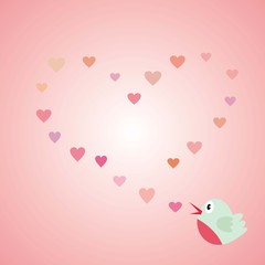Love bird - Valentine's day, light pink, heart