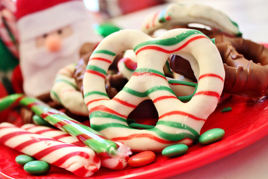 Christmas candy and pretzels
