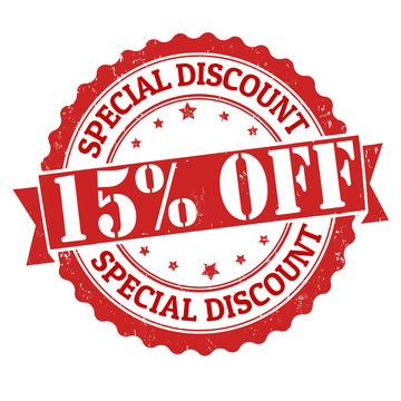 Special discount 15% off stamp