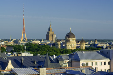 Canvas Prints Kuala Lumpur Stadtübersicht auf Riga, Lettland