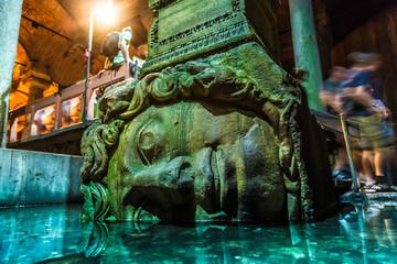 Deurstickers Turkije Medusa haed in The Basilica Cistern, Istanbul, Turkey.