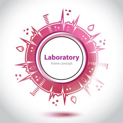 Abstract red medical laboratory circle element.