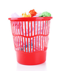 Full garbage bin, isolated on white