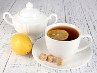 Cup of tea with lemon close up