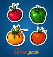 Fresh vegetables. Colorful cartoon. Easily editable vector.