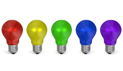 Row of light bulbs of different colors. Front view