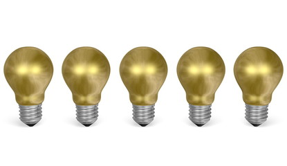 Row of golden light bulbs. Front view