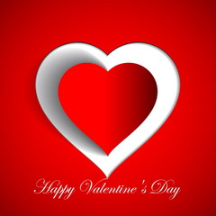 Happy Valentines Day - Red Heart Paper Sticker With Shadow - vec