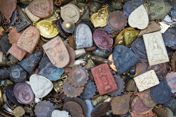 Background talismans amulets old shapes of different colors
