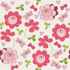 Seamless pattern with flowers, butterfly and hearts