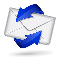 Mail icon with blue arrows