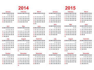 2014 and 2015 years calendar