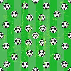 seamless soccer background pattern, soccer balls, vector illustr